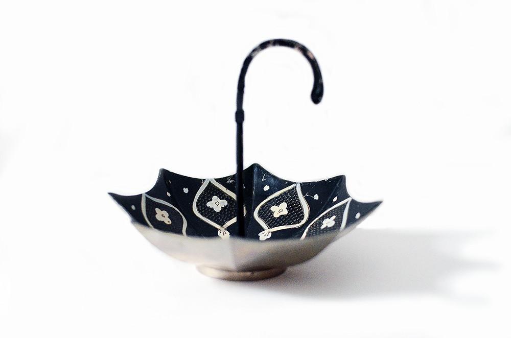 Vintage Black and White Umbrella Dish