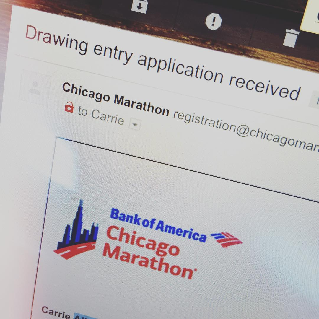 I did it. I just possibly signed up for my first  FULL marathon. #pinchme #fingerscrossed #dreaming #hopeicandothis #chicagomarathon #chicagomarathan2016 #marathon #runner