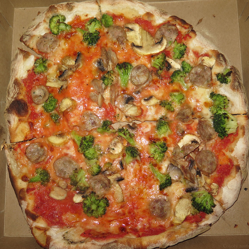 Frank Pepe sausage, mushroom, and broccoli pizza