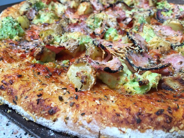 Avocado/Black Forest Ham/Potato Pizza