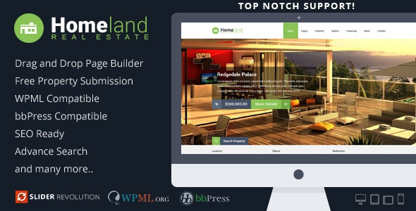 Homeland v3.1.6 – Responsive Real Estate WordPress Theme