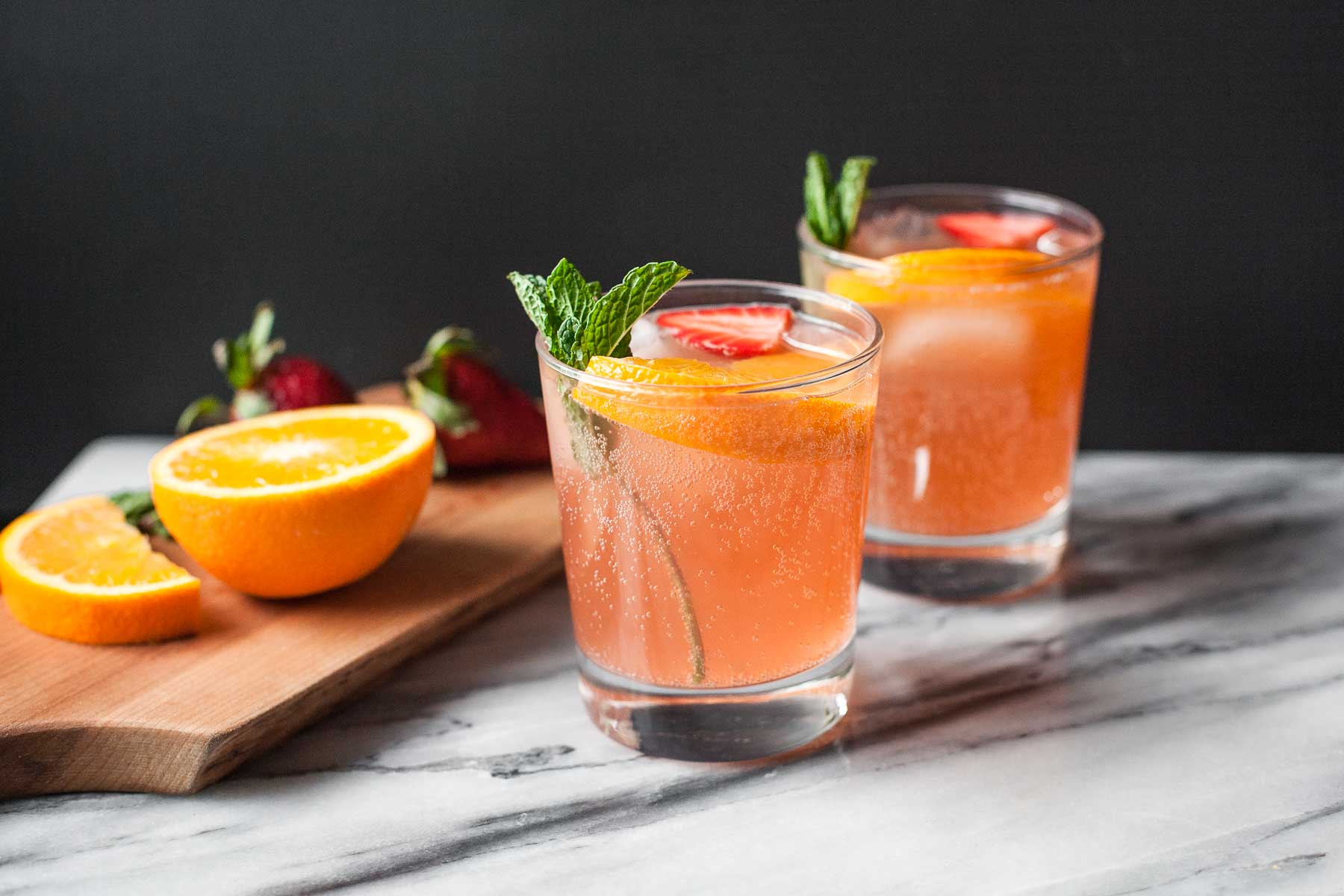 Strawberry Orange Ginger Fizz (Paleo, Refined sugar free)