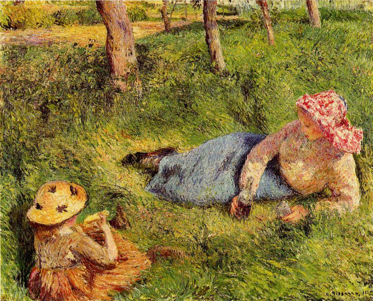 The Snack, Child and Young peasant at Rest by Camille Pissarro, 1882