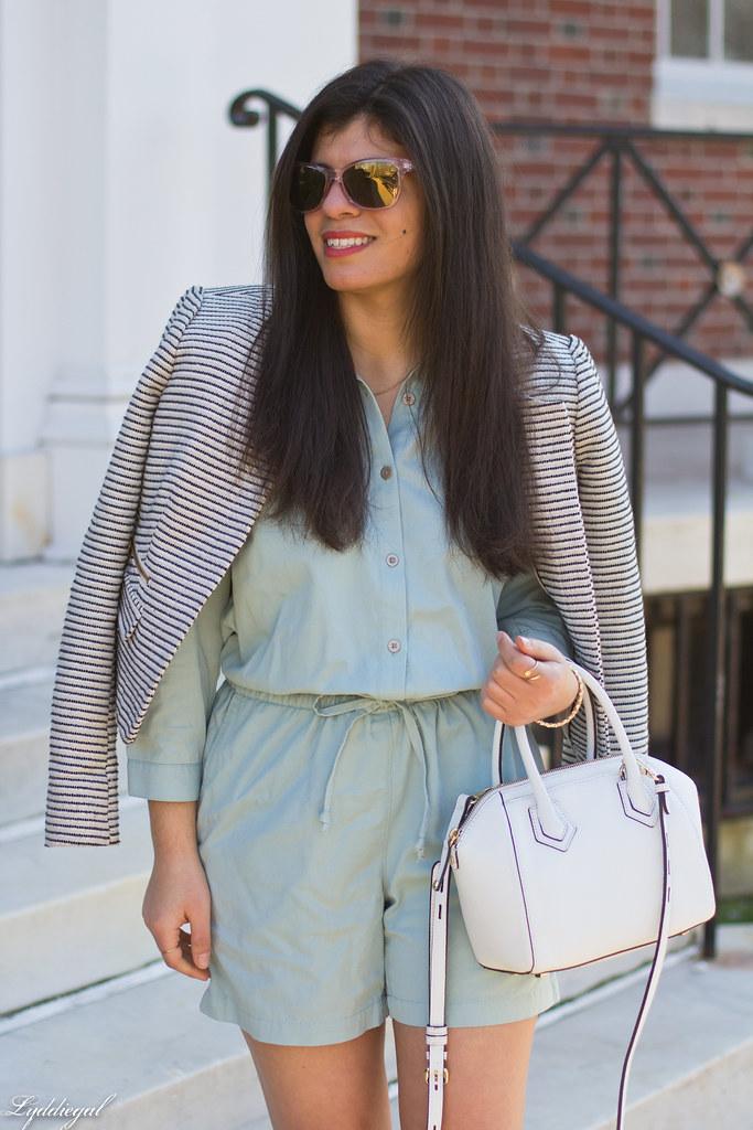 mint romper, striped blazer, lace up flats, white bag-9.jpg
