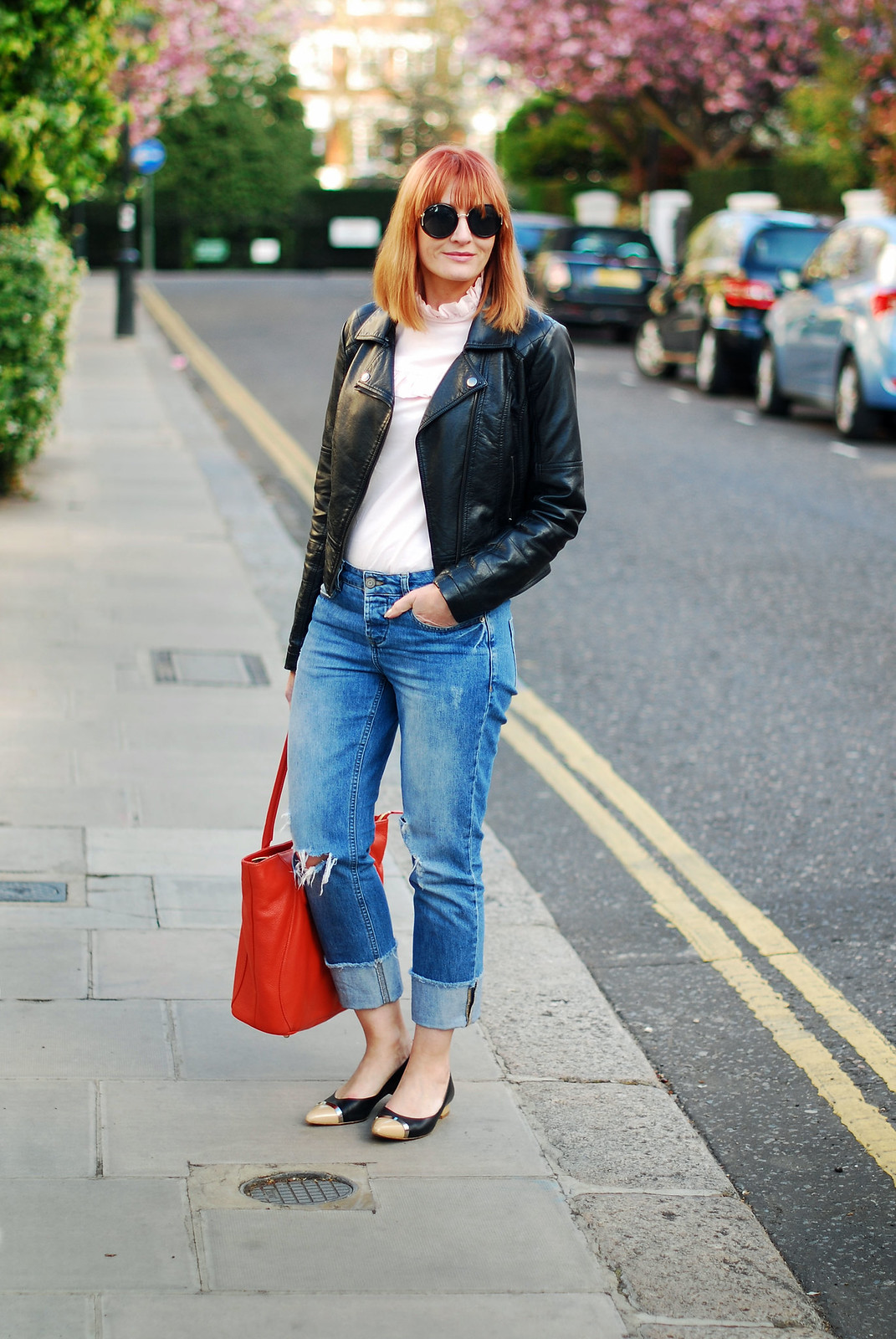 SS16 Style: M&S Archive by Alexa ruffled Harry blouse, distressed boyfriend jeans, black biker jacket, orange tote, pointed two-tone flats | Not Dressed As Lamb