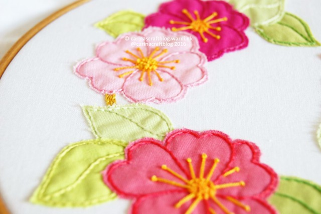 Sakura Blossom embroidery and appliqué pattern