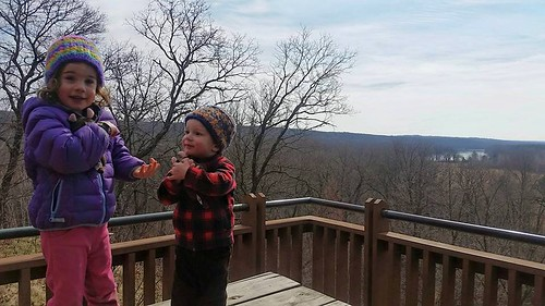 Hiking along the St. Croix River on a chilly spring day in MN with L, 3 and R, 2