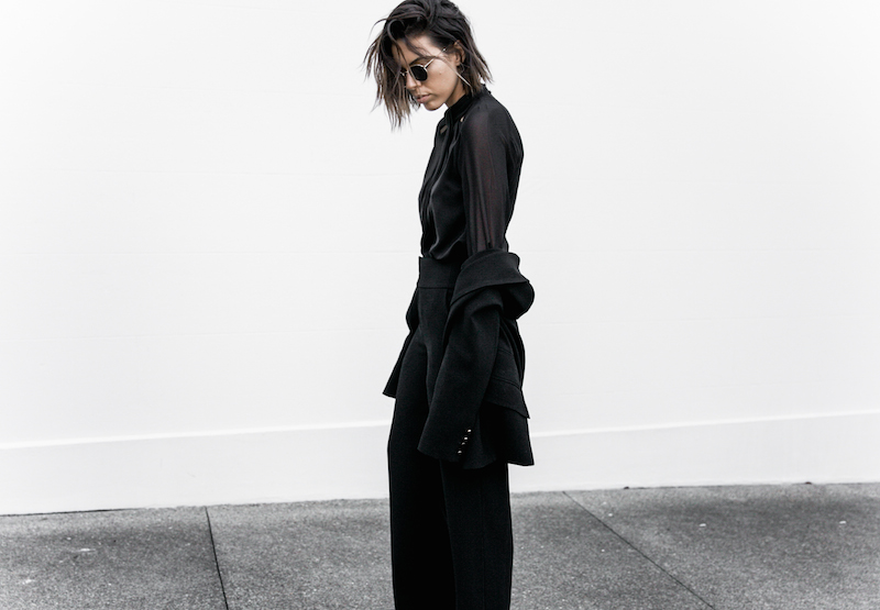 all black workwear inspo street style Karen Millen fashion blogger modern legacy man style sheer cut out shirt  (9 of 15)