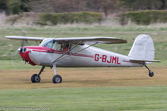 G-BJML - 1946 build Cessna 120, rolling for departure on Runway 26R at Barton