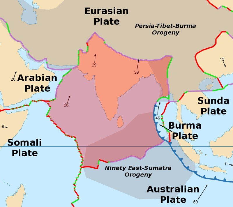 A map depicting a movement of Indian plate