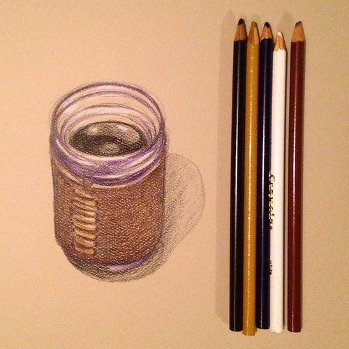 Mason jar coffee in color pencil.