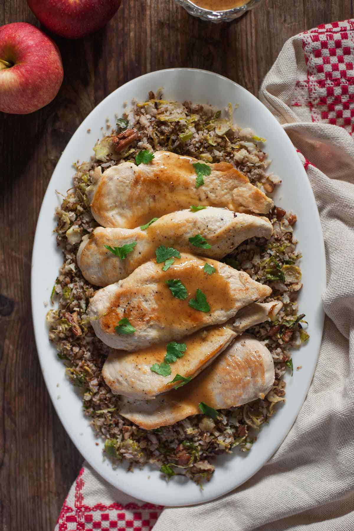 Cider-Glazed Chicken with Roasted Cauliflower Rice (Paleo, Whole30) | acalculatedwhisk.com