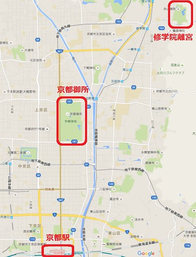 修学院離宮、京都地図
