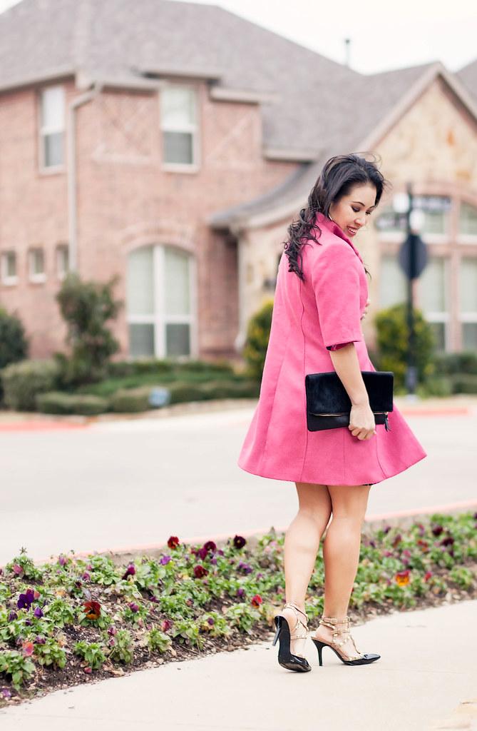 cute & little blog | petite fashion | jean kaori pink coat, black pink floral dress, studded pumps, clare v black clutch outfit