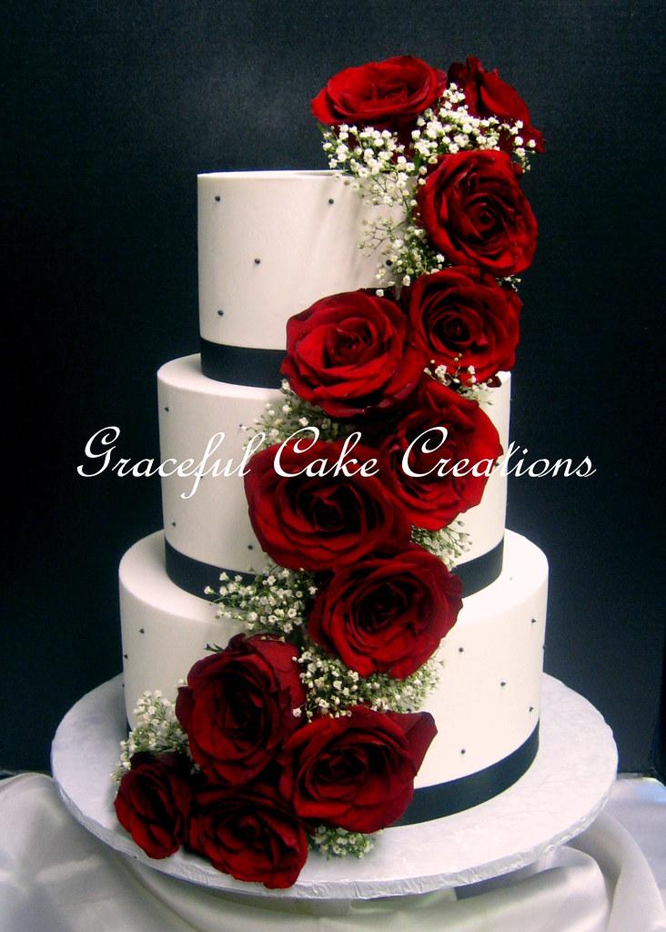 Cream Ribbon Red Rose Cake