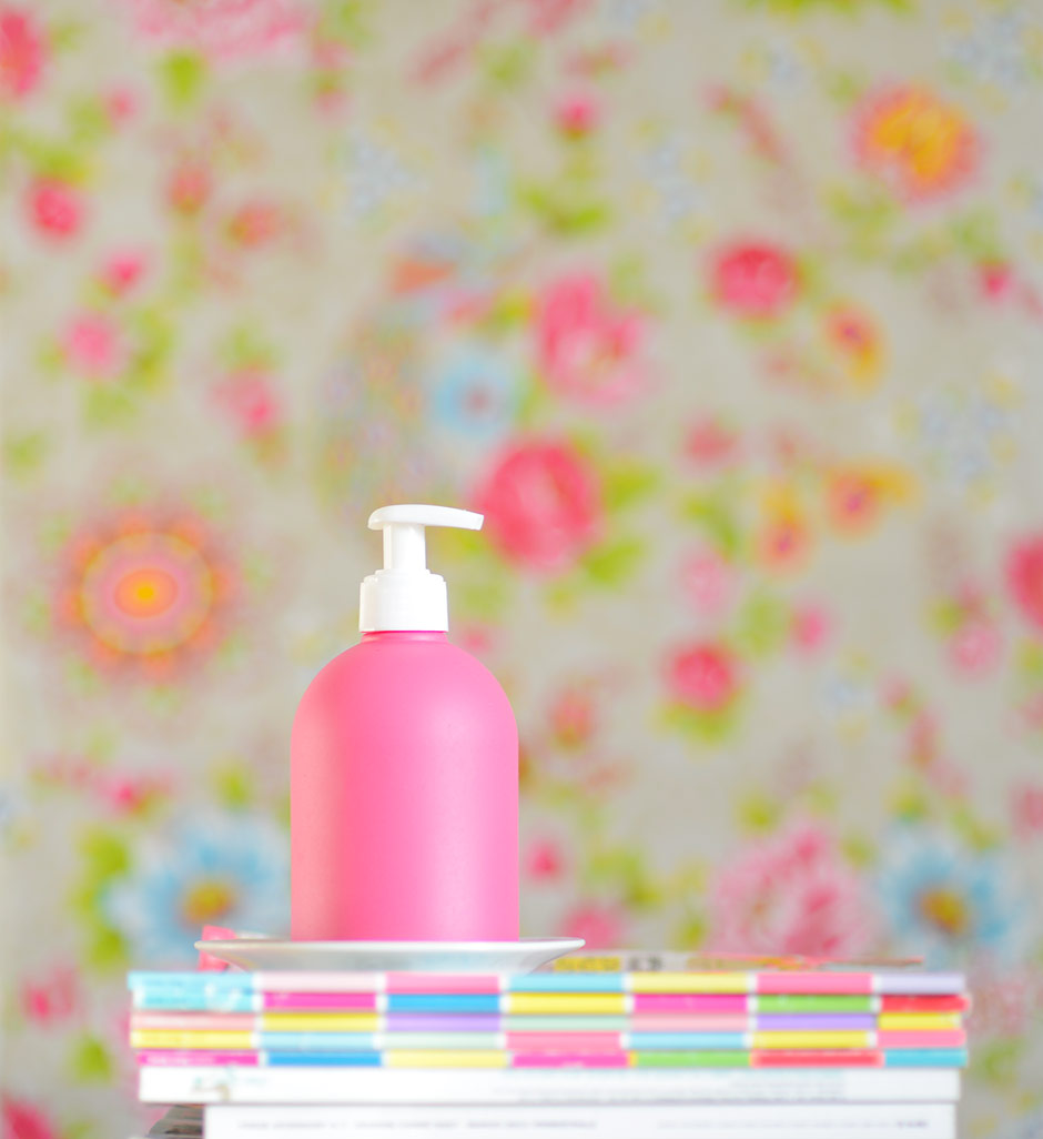 A most romantic hand sanitizer bottle spray painted pink
