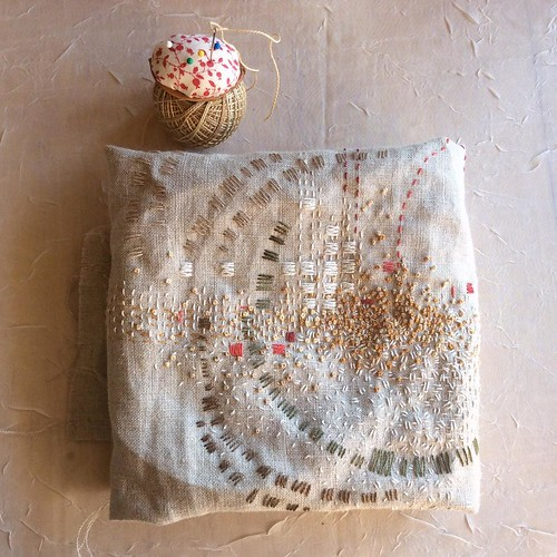 Day 24: more French knots the tawny color of the far field in sharp morning light