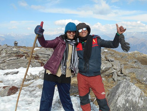 Negi ji and Ruma Roy - During Kedarkantha Summit 2016 in Winter , Uttrakhand, India