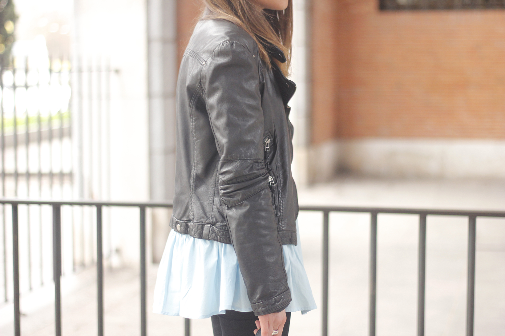 black leather biker black ripped jeans blue shirt outfit streetstyle08