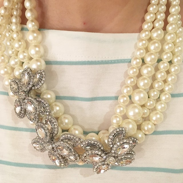 Ann Taylor Pearlized Crystal Brooch Statement Necklace