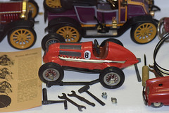 Antique toy racing car with tool set