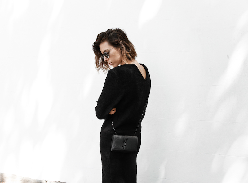 long sleeve maxi dress street style inspo fashion blogger transseasonal YSL chain bag monochrome modern legacy  (1 of 1)