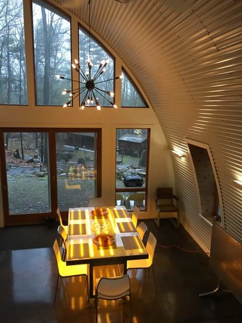 Quonset Hut Home   Beautiful shot capturing the arch style ...