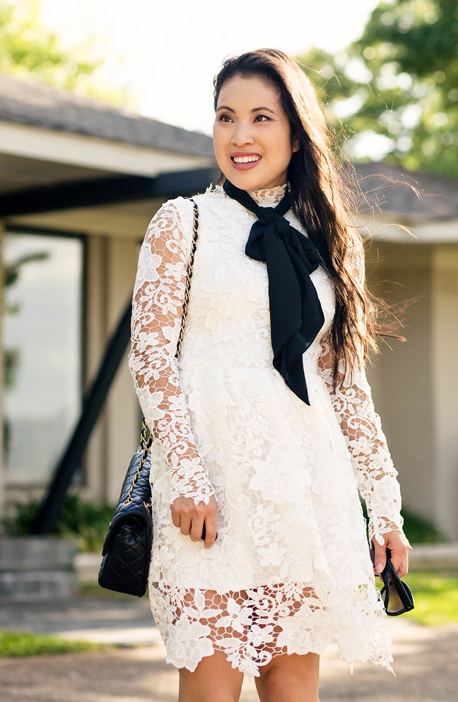 cute & little blog | white crochet lace dress, skinny scarf bow knot, studded sole society tiia pumps, chanel quilted crossbody | spring wedding bridal outfit