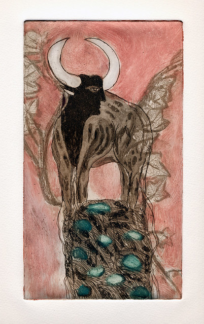 a colour etching of Taurus the bull