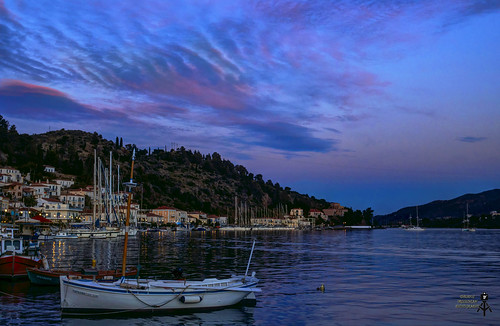 View of Poros island. Sunset time