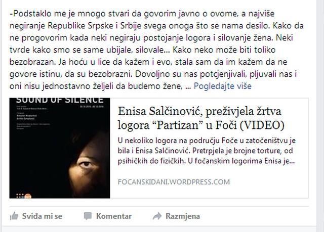 """Enisa Salčinović, preživjela žrtva logora """"Partizan"""" u Foči (VIDEO)"""