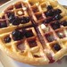 Sunday yeast-risen waffles with blueberry compote