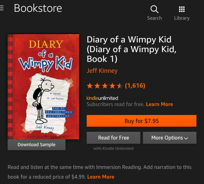 diary of a wimpy kid book  for kindle