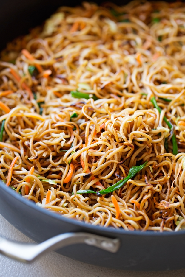Cantonese-Style Pan-Fried Noodles - smokey noodles just like your favorite restaurants and it's a quick 30 minutes to make! That's faster than takeout! #cantonesenoodles #panfriednoodles #chowmein | Littlespicejar.com