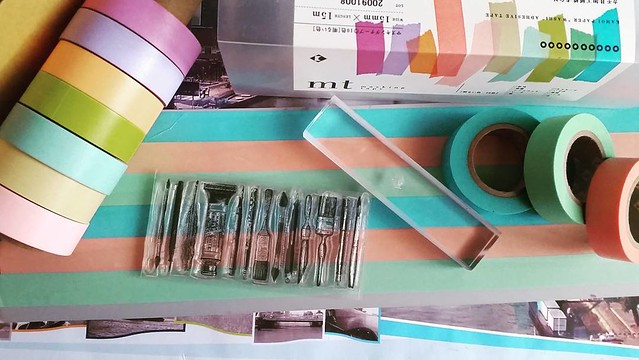 Making custom masking tape with colored MT tape and clear stamps #DIY #craftyendeavors #creativemess #maskingtape #mttape #rubberstamps #techniquetuesday #colorcoordination #workinprogress