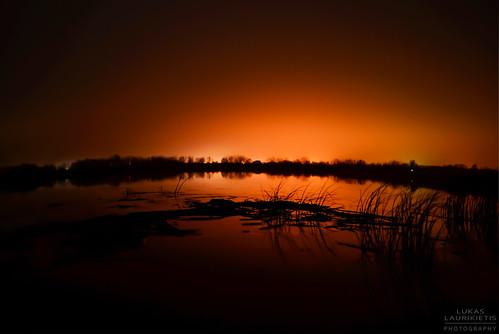light sky lake nature water night reflections landscape photography lights nikon outdoor horizon lithuania bernatoniai