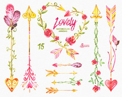 Lovely Watercolor Arrows Clipart. 15 Hand painted elements, wreath, feathers, valentines, diy floral, flowers, tribal, gold, boho, hearts