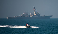 A ridged hull inflatable boat from USS Russell participates in a monthly Iraqi bilateral exercise.