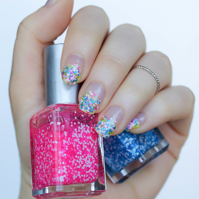 Confetti Party Nails | Hot Pink Blue Yellow Chunky Glitter Gradient Negative Space Manicure with RickyColor on Living After Midnite