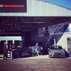 Preview of my future garage at the #gt350tracktour . Deep Impact Blue GT350 and Stealth Gray RS!