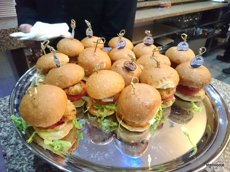 Platter of oyster po' boy sliders