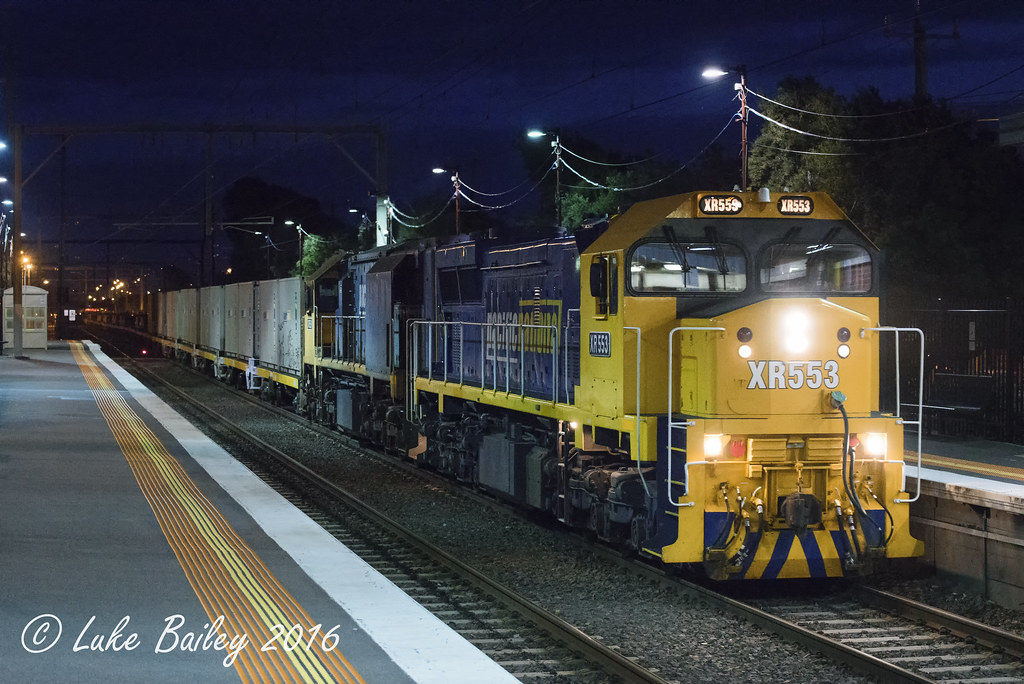 XR553-XR559 with #9556 up Long Island goods at Carrum by Luke's Rail Gallery