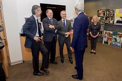 U.S. Secretary of State John Kerry shares a laugh with doctors from the University Hospitals of Geneva in Geneva, Switzerland, on May 2, 2016, as he visited the U.S. Mission in Geneva and thanked the first responders who treated him after he broke his leg in a biking accident in nearby France on May 31, 2015. [State Department photo/ Public Domain]