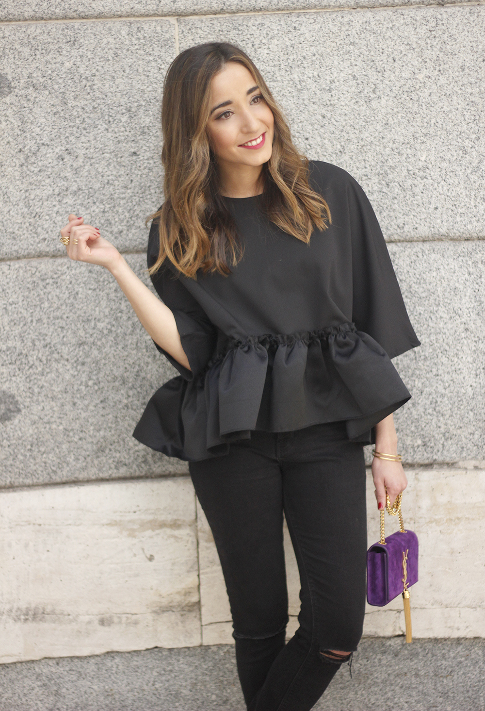 black top with a ruffle Carolina Herrera Sandals YSL bag accessories outfit style22