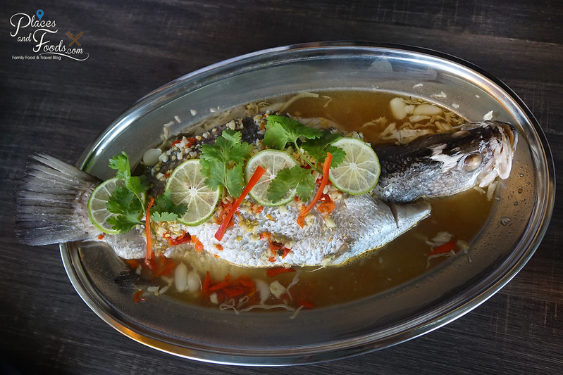 baan kun ya steamed sea bass with lemon sauce