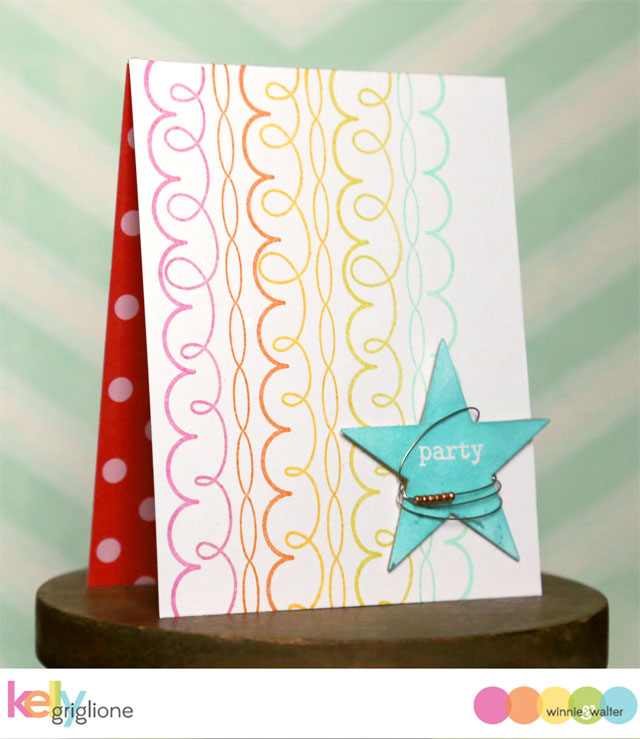 kelly_Party Card with Streamers and Stars