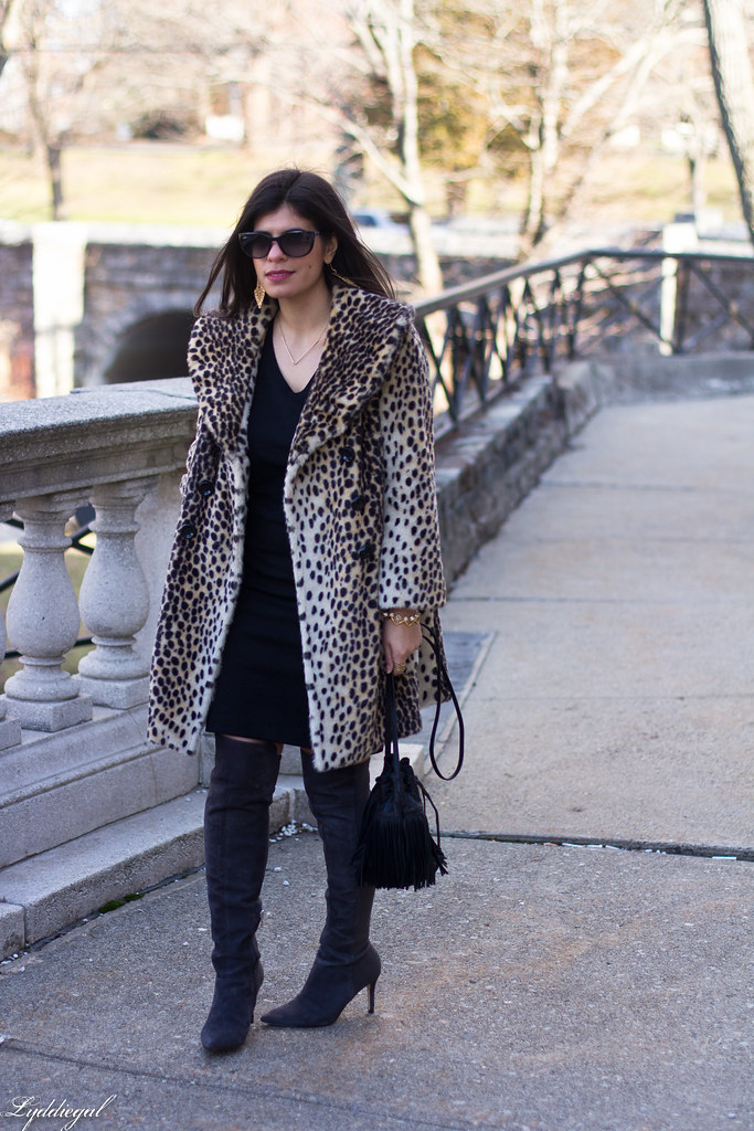 Black skirt, black top, leopard fur coat, over the knee boots-8.jpg