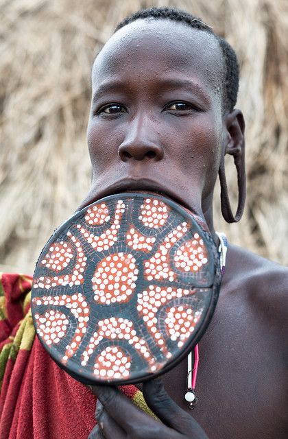 Mursi woman with large lip plate.