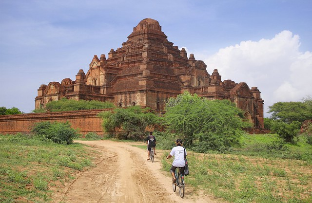 Biking towards the intriguing Dhammayangyi temple