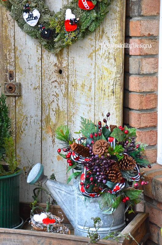 Vintage weathered door/vintage watering can - Housepitality Designs